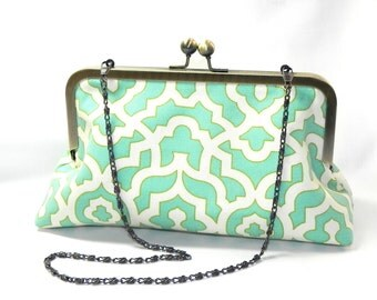Clutch - Seafoam mint aqua and cream lattice fabric handbag - Brass kisslock frame with chain