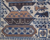Vintage, Hand Knotted WAR RUG from Afghanistan, Tanks, AK47 rifles or Guns , Ivory, Blue and Brown, all wool