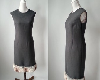 Vintage Dress, Grey Vintage Dress, 1960s Dress, 60s Grey Dress, Faux Fur Dress, Fake Fur Dress, Vintage Fake Fur, Retro 60s Dress, 60s Mod