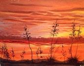 Peaceful western sunset vintage original painting. Mountains cactus orange sky