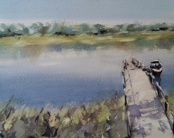 "Landscape, Cape Cod, shore, nautical,boat, dock. On the Lake- original watercolor painting (7"" x 10"")."