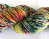 Fine Merino Socks hand dyed yarn hand painted: Wild Bavaria