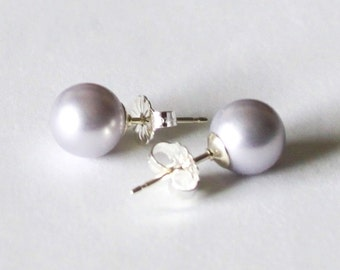 8mm Lavender Swarovski pearl stud earrings - Sterling Silver-14K Gold- Wysteria pearl studs- bridesmaid earrings- Light purple pearl earring