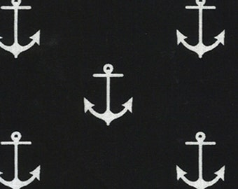 Anchor Fabric - Black and White Fabric - Sailor Fabric - Cotton Fabric - Boy Fabric - Nursery Fabric - Nautical Fabric - Remnant - 14""