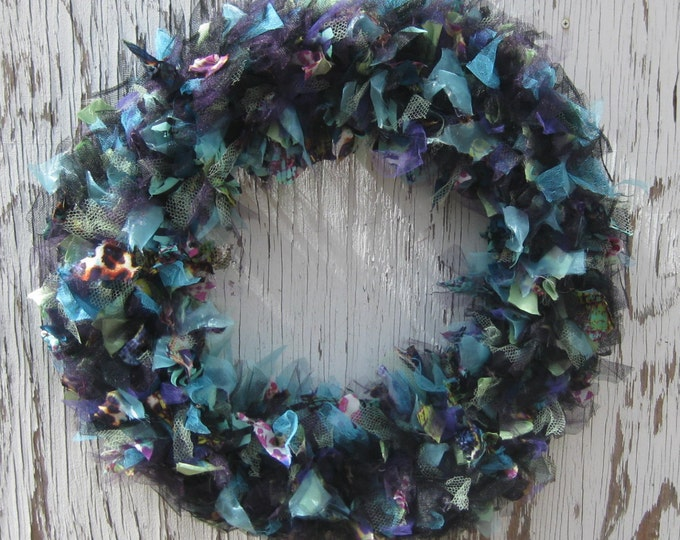 Recycled Prom Dress Wreath - 20 inch - Black, Teal and Purple