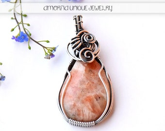Sunstone gemstone , sterling silver , wire wrapped pendant