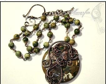 ON SALE Rhyolite , gemstone , copper , wire wrapped , fantasy necklace , statement jewelry