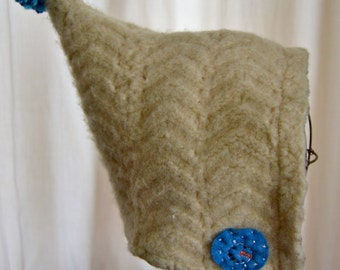 18mons-3T Cream Pixie Toddler Baby Hat Upcycled Felted Wool Snowmen flannel lined READY TO GO