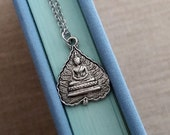 Buddha Lotus Leaf Necklace. Silver Buddha Necklace. Silver Lotus Leaf. Buddha Pendant. Zen Buddhist Meditation. Yoga Jewelry