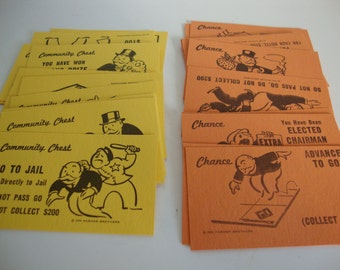 Monopoly Chance Community Chest Cards, Lot of Monopoly Cards, Monopoly Game Cards