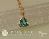 RESERVED Paraiba Color Tourmaline Layering Necklace with Delicate Cable Chain Keepsake Gift for Her