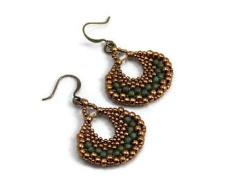 Beaded Earrings - Bronze and Green Hoop Earrings - Seed Bead Jewelry - Beadwork Earrings - Bead Fan Earrings - Boho Earrings