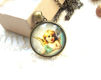 Angel pendant necklace, angel image pendant,  angel wings necklace , fantasy necklace, guardian angle jewelry