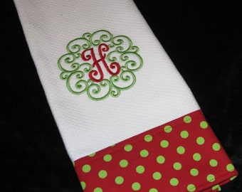 Personalized  Christmas  Kitchen Towel -  Monogrammed  Holiday Hostess Gift - Holiday Hand Towel- Teacher Gift