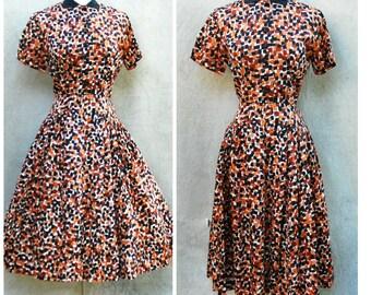 Vintage 50s party/ day dress - 1950s full skirt black, cream, copper print satin dress- medium
