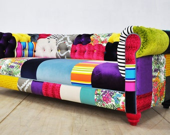 Chesterfield patchwork sofa - color palette