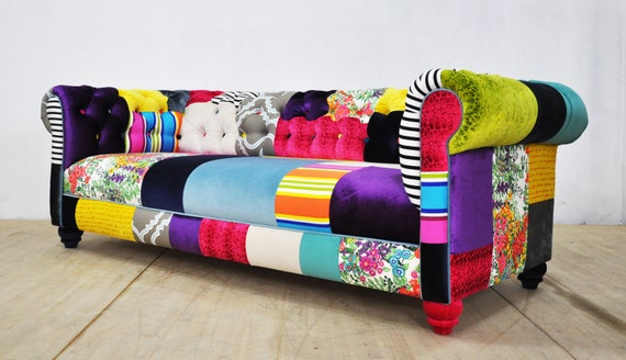 Canap chesterfield patchwork palette de couleurs for Canape patchwork