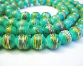 Drawbench Glass Beads Green Round 10MM