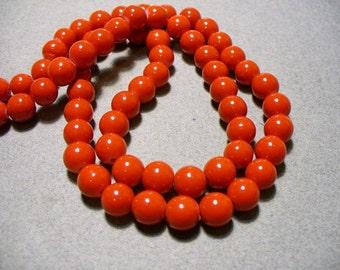 Glass Beads Red Round 8MM