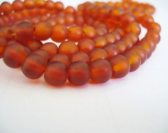 Beach Glass Beads RedOrange  Frosted 6MM