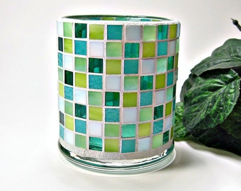 Stained glass mosaic votive candle holder aqua lime green handmade
