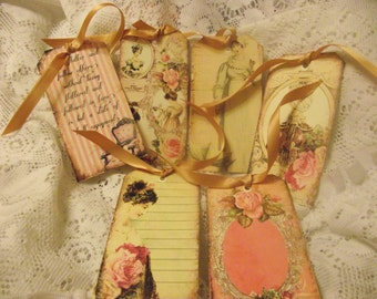 Vintage Style Gift Tags Jane Austen  Pastel Colors  Pink Roses Shabby Chic  Various Styles