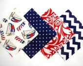 """48 Cotton Flannel 6""""x6"""" Quilt Square Rag Quilt Kit in Fun Red, White and Blue Nautical Sailboats and Matching Prints"""