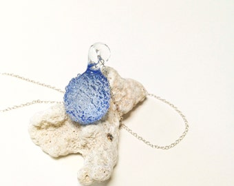 Seaglass Jewelry, Blue Sea Glass Necklace, Crystal Pendant, Beachglass Necklace, Pale Blue Large