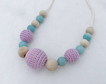 Crochet Teething Necklace Nursing Necklace Purple