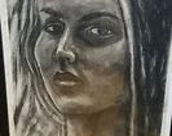 charcoal painting, woman portrait
