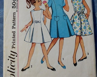 Vintage Sewing Pattern Girls Size 12 Dress Princess Line Inverted Pleats Short Sleeved Sleevless Simplicity 4922