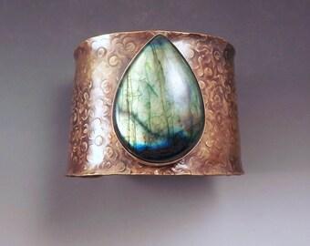 Emerald Labradorite- Milk Chocolate Patina- Bronze Jewelry- One of a Kind- Metalsmithed- Statement Cuff- Labradorite Bracelet