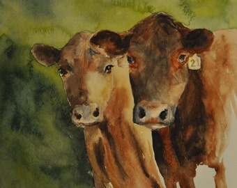 Ranch Cows - original Watercolor painting cattle ranch , western art, original watercolor on paper
