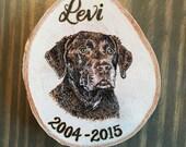 Custom Wood Burned Pet Portrait Ornament