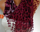Burgundy Leopard Print  Scarf Animal Scarf  Shawl Cowl Scarf  Necklace Cotton Scarf Gift Ideas For Her Women Fashion Accessories  - fatwoman