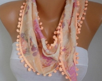 Apricot Floral Cotton Scarf,Summer Scarf, Cowl Scarf, Gift Ideas For Her,Women Fashion Accessories - fatwoman