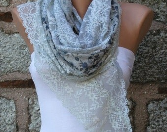 OOAK Scarf,Floral Lace Scarf, Shawl Scarf, Cowl, Bridal Accessories Bridesmaid gift,for her,Women's Fashion Accessories, Best selling item