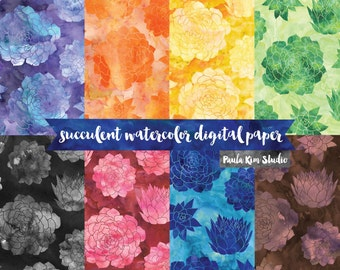 Watercolor Succulent Digital Paper, Floral Pattern Backgrounds, Instant Download, Commercial Use