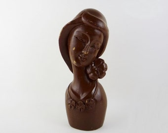 Vintage Wooden Sculpture of a Lady with Flowers Bust