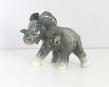 Vintage Ceramic Elephant Figurine by Golden Crown E & R - Grey Elephant with Trunk Up Pose - Ceramic Lucky Elephant Figurine - Baby Elephant
