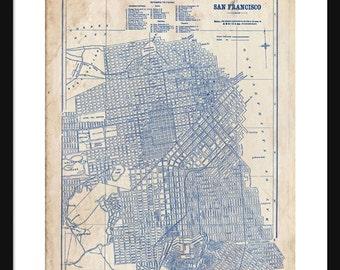 San Francisco Portrait Map 1944 Street Map Vintage Blueprint  Grunge Print Poster