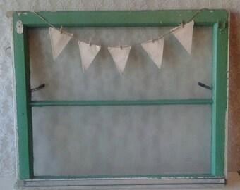 Old Window, Vintage window, Green window, Frosted Glass window, Shabby Cottage decor, Farmhouse Home decor