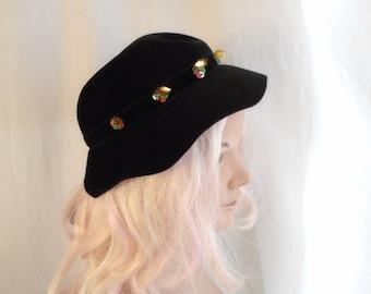 Vintage 1950's Hat Black Felt Brimmed Hat with Sequin Trim Old Hollywood