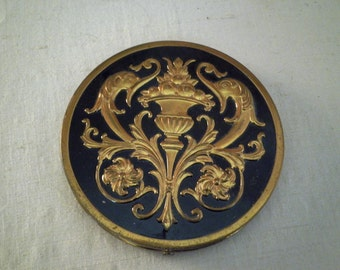 1940's Compact Vintage Large Round Compact Rex Fifth Avenue Powder Compact Purse Mirror