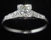 Antique Engagement Ring Old European Cut Diamond Platinum Art Deco Certified