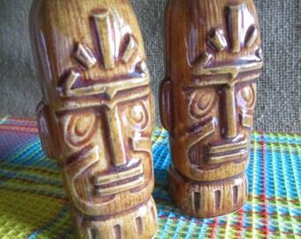 Tiki Salt and Pepper Shakers   Tiki Head   Polynesian Style