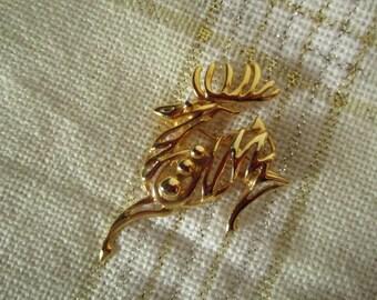 Prancing Reindeer Vintage Christmas Brooch, Gold Toned Reindeer Brooch, Re-purpose,  Christmas Jewelry, Give as Gift