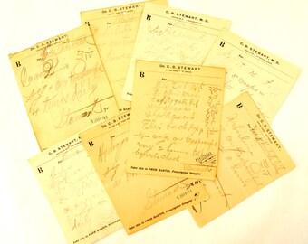 Vintage / Antique Handwritten Medical Prescriptions, Set of 8 (c.1901-02) N1 - Paper Ephemera, Collectibles, Medical Oddities