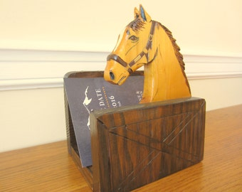 Wood horse letter holder with pencil slots.  Desk organization equestrian style.