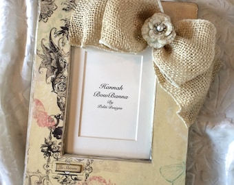 Personalized Country Wedding Frame with Burlap Bow Jewel Swarovski Crystal Ivory Reception Engagement Gift